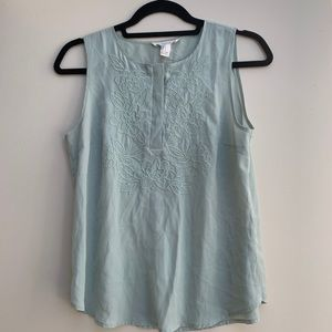 Forever 21 silky embroidered top light blue size S